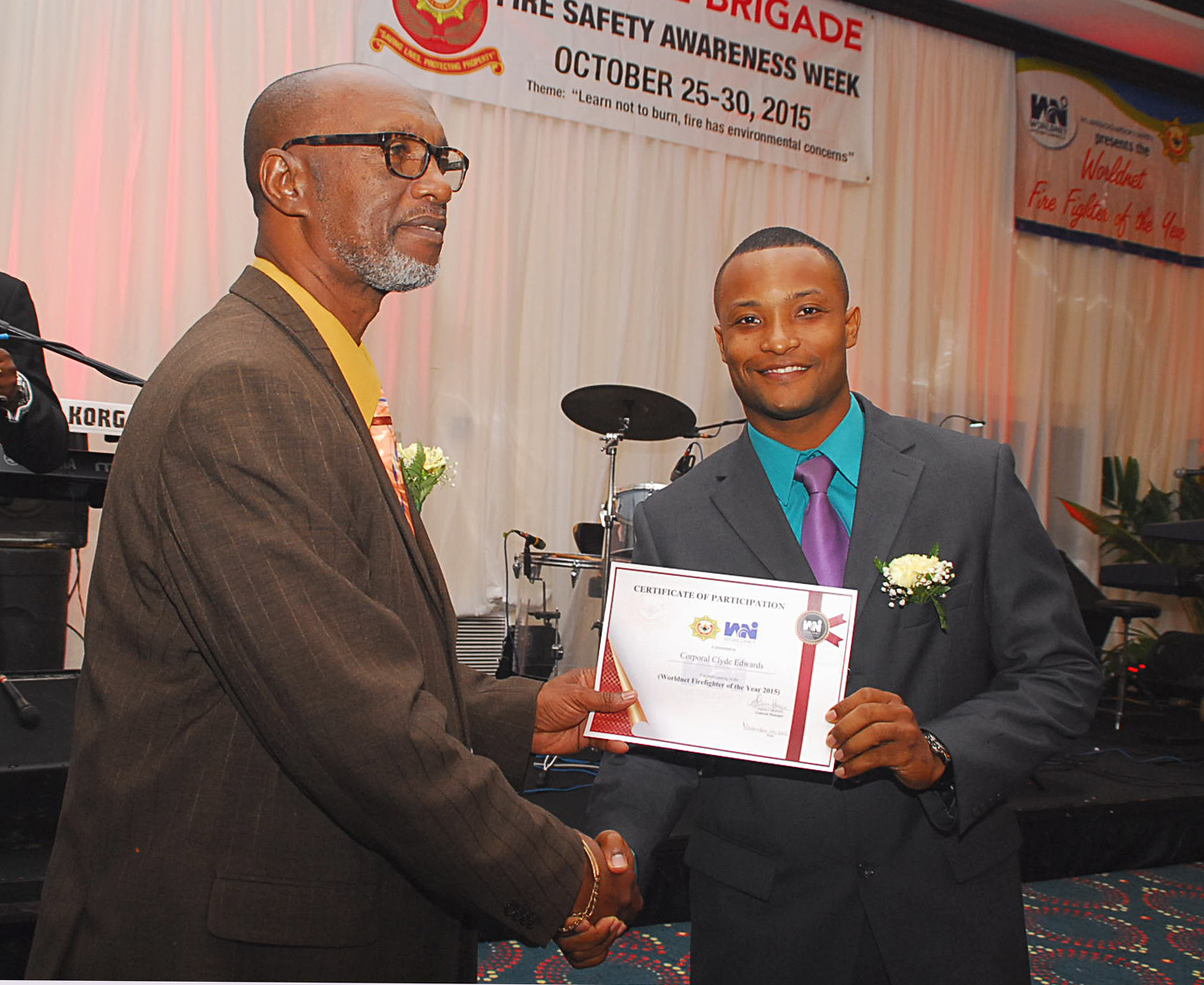 Award being distributed at Worldnet Firefighter of the year 2015 award ceremony